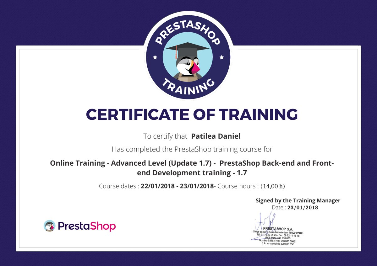 PrestaShop Certified Developer